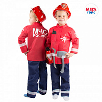 Set of the Ministry of Emergency Situations No. 3 in a cover (jacket, trousers, fire extinguisher, walkie-talkie, helmet, ax, crowbar) (7pcs)