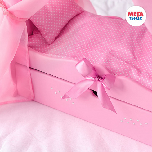 "Crib with a royal canopy, bed linen, drawer (collection ""Diamond princes"" pink) (4pcs)"