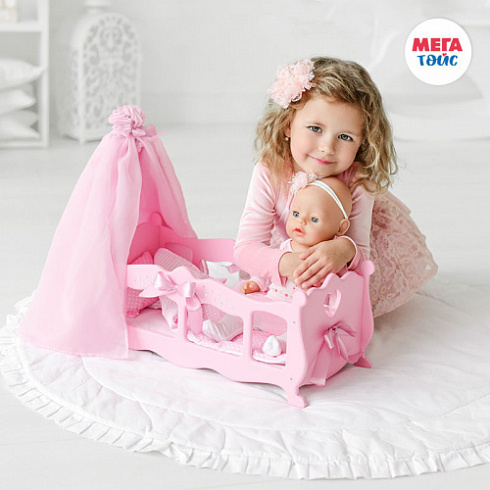 Crib (cradle) with bed linen and canopy (Pink Diamond Princess collection) (6pcs)