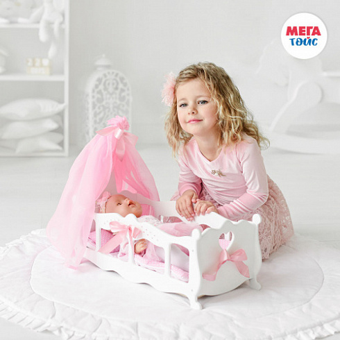 "Crib (cradle) with bed linen and canopy (Diamond Princess collection ""white) (6pcs)"